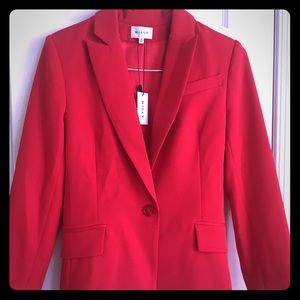 Milly 2018 Fitted Blazer, Ruby Red, Size 8.  NWT